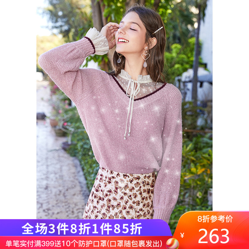 Xiangying 2020 new Sequin V-neck mesh splicing sweater women's fashionable loose outside spring sweater