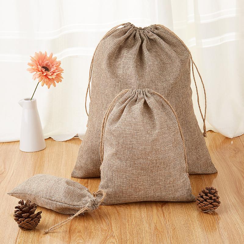可定制logo纺麻咖啡色束口袋旅行衣物整理袋抽绳布袋内衣收纳袋