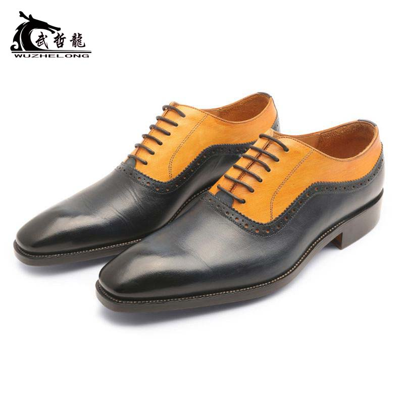 Imported calf leather customized business dress leather lace up color matching two joint Oxford Shoes Goodyear hand made mens shoes