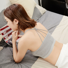 Tube top underwear anti-lighting bottom wrapped chest short section beauty back vest female belt chest pad sexy gathered cross belt