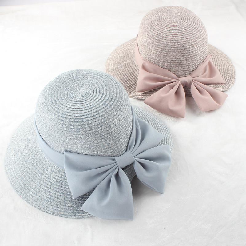 草帽女夏天度假防晒折叠沙滩帽小清新遮阳帽大檐百搭渔夫帽太阳帽