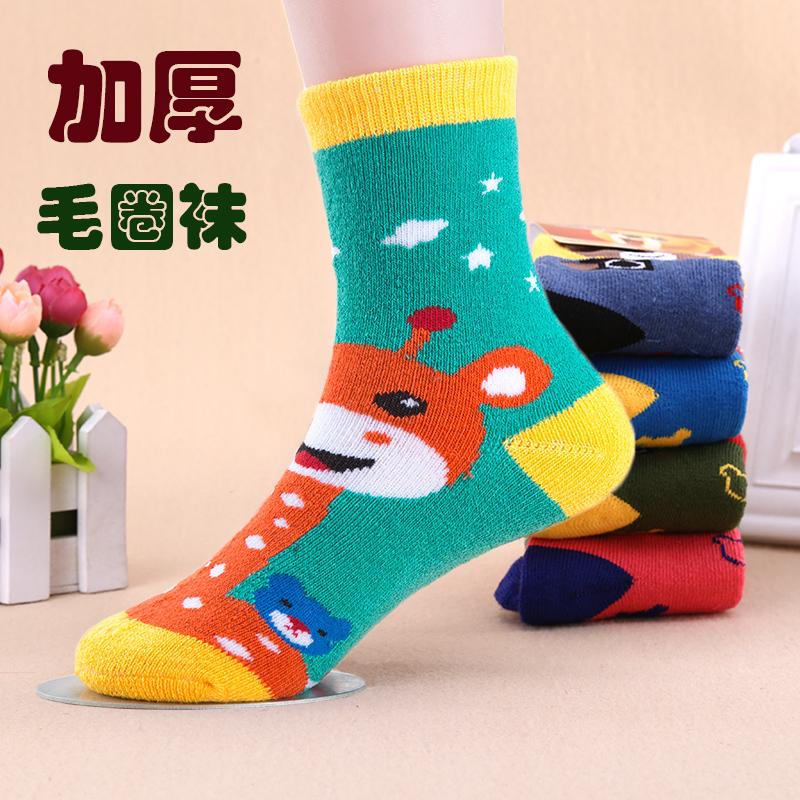 5双冬款加厚毛圈童袜儿童袜子卡通长颈鹿款男女童毛巾袜保暖