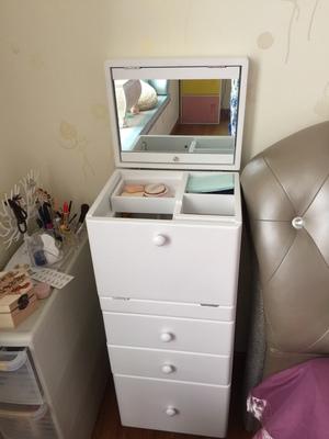 简约梳妆台卧室小户型迷你翻盖化妆桌收纳柜一体33cm女多功能单人