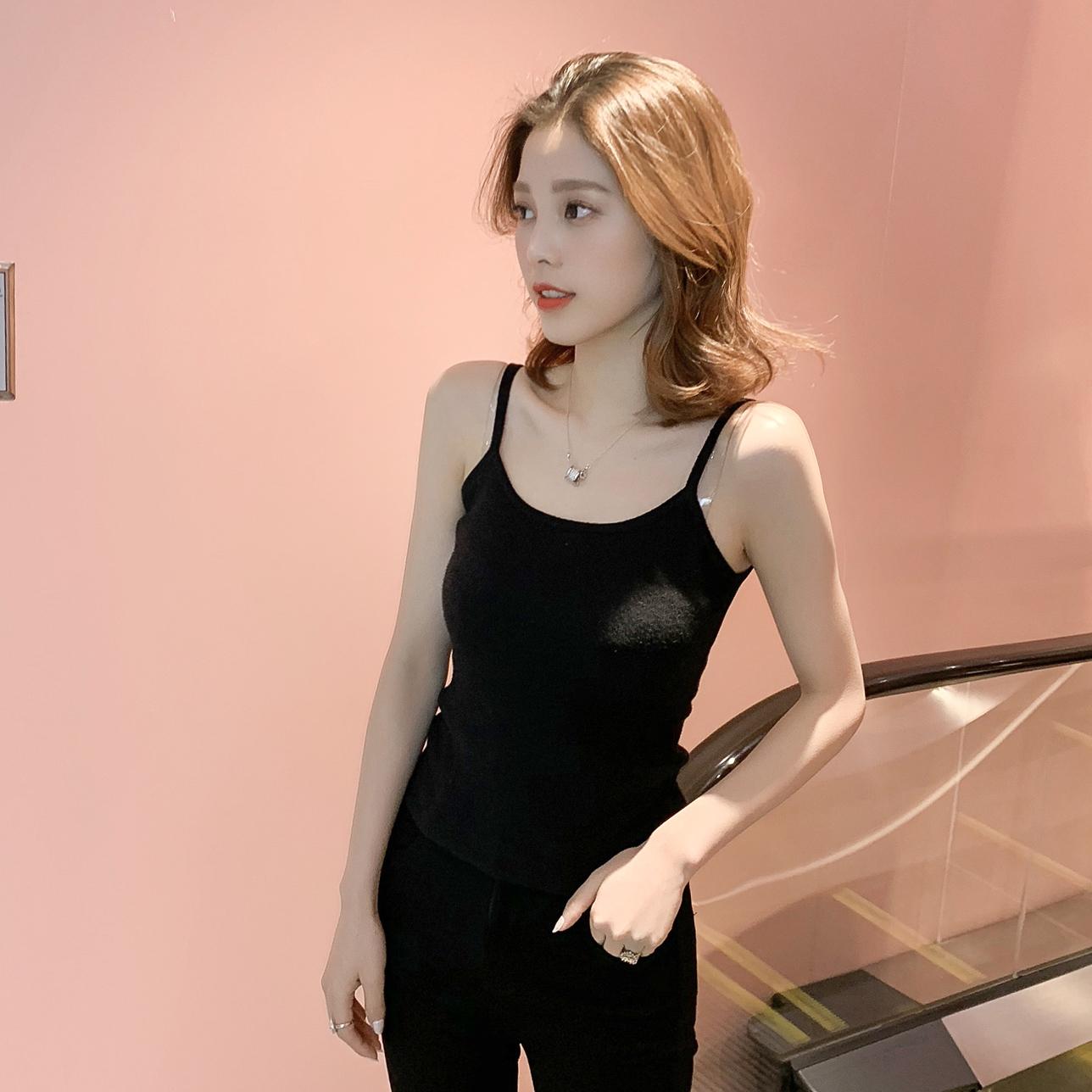 2019春季新款韩版修身内搭黑色短款小吊带女装chic显瘦打底衫上衣