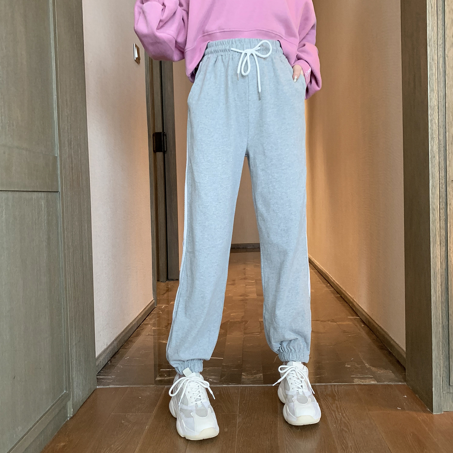 限8000张券2019秋季新款韩版条纹束脚潮休闲裤