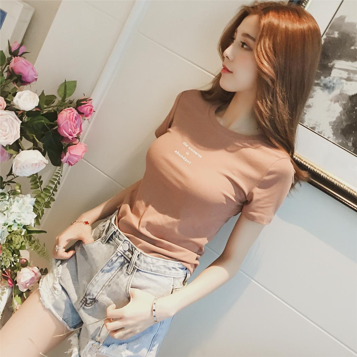 2018夏季新款韩版纯色字母印花短袖T恤女装修身百搭圆领套头上衣