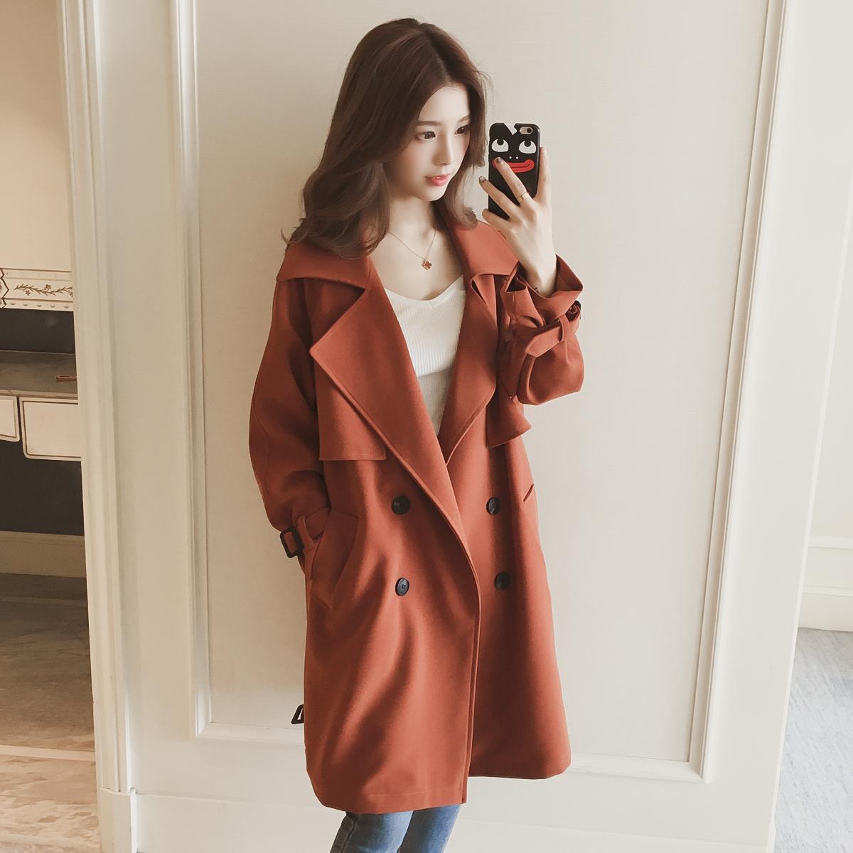 2017 зимний осенний новинка корейский длина свободный однобортный большая очередь воротник случайный бедро ветровка пальто женщина волна