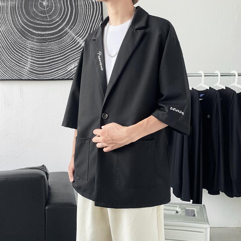 七分袖西服男夏季薄款潮流刺绣小西装X606P40
