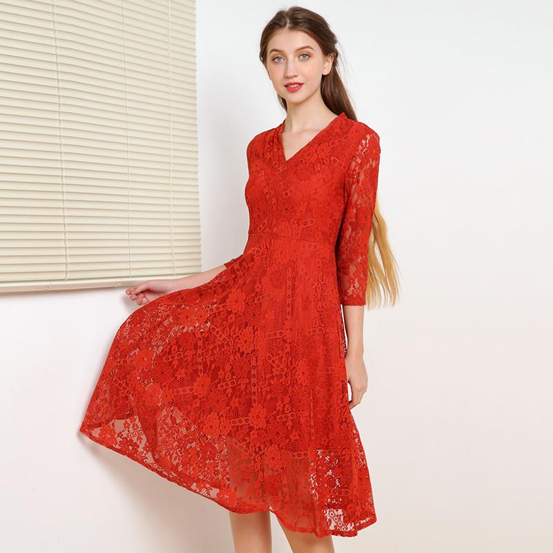奥特莱斯专卖店女装 正品折扣品牌 名伶气质蕾丝连衣裙淑女风秋