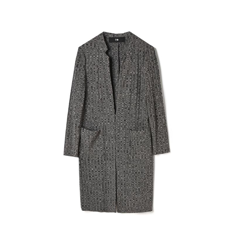 奥特莱斯专卖店女装 正品折扣品牌麻灰针织外套侧边开衩亲肤秋