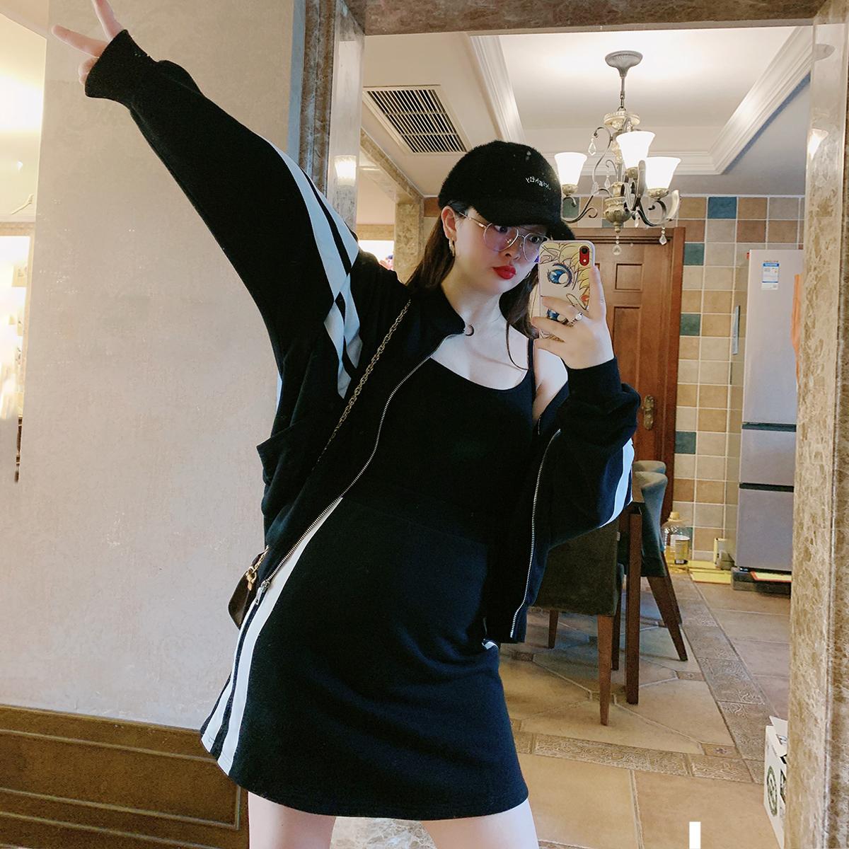 百分百大码女装胖妹妹显瘦套装女200斤遮肉减龄休闲裙洋气两件套