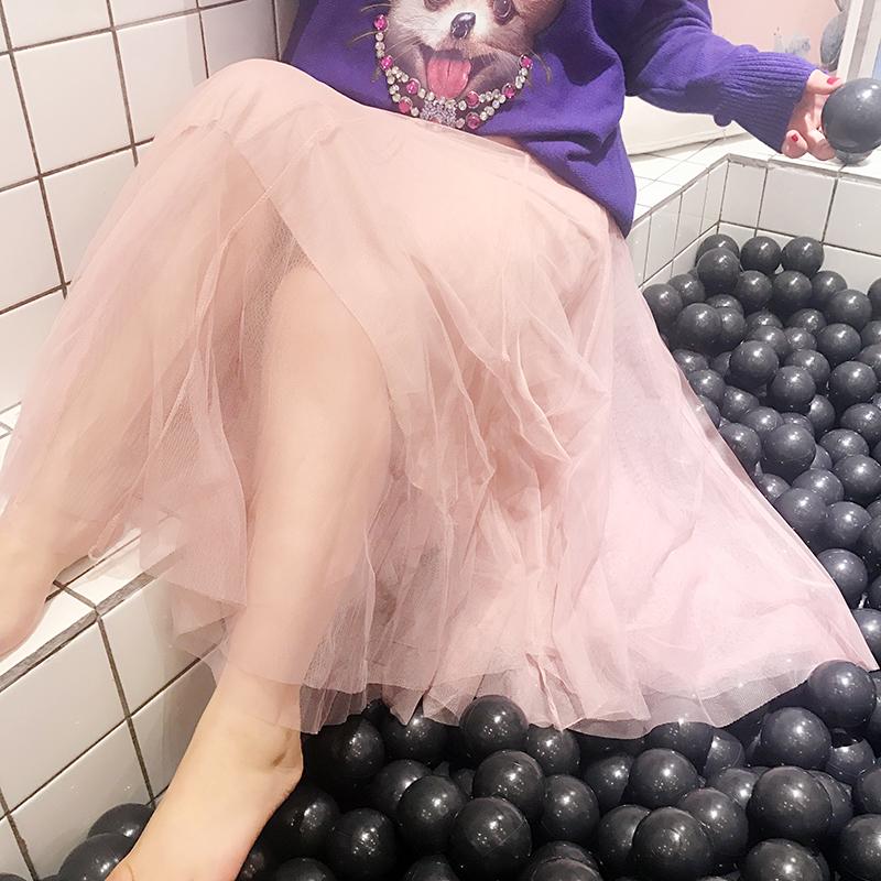 大码女装2018春装新款胖mm半身裙仙女网纱裙子胖公主百搭甜美长裙
