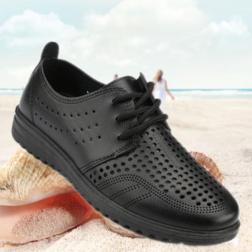 夏季男皮凉鞋商务工作皮鞋爸爸鞋休闲男士凉鞋镂空洞洞皮鞋厨师鞋