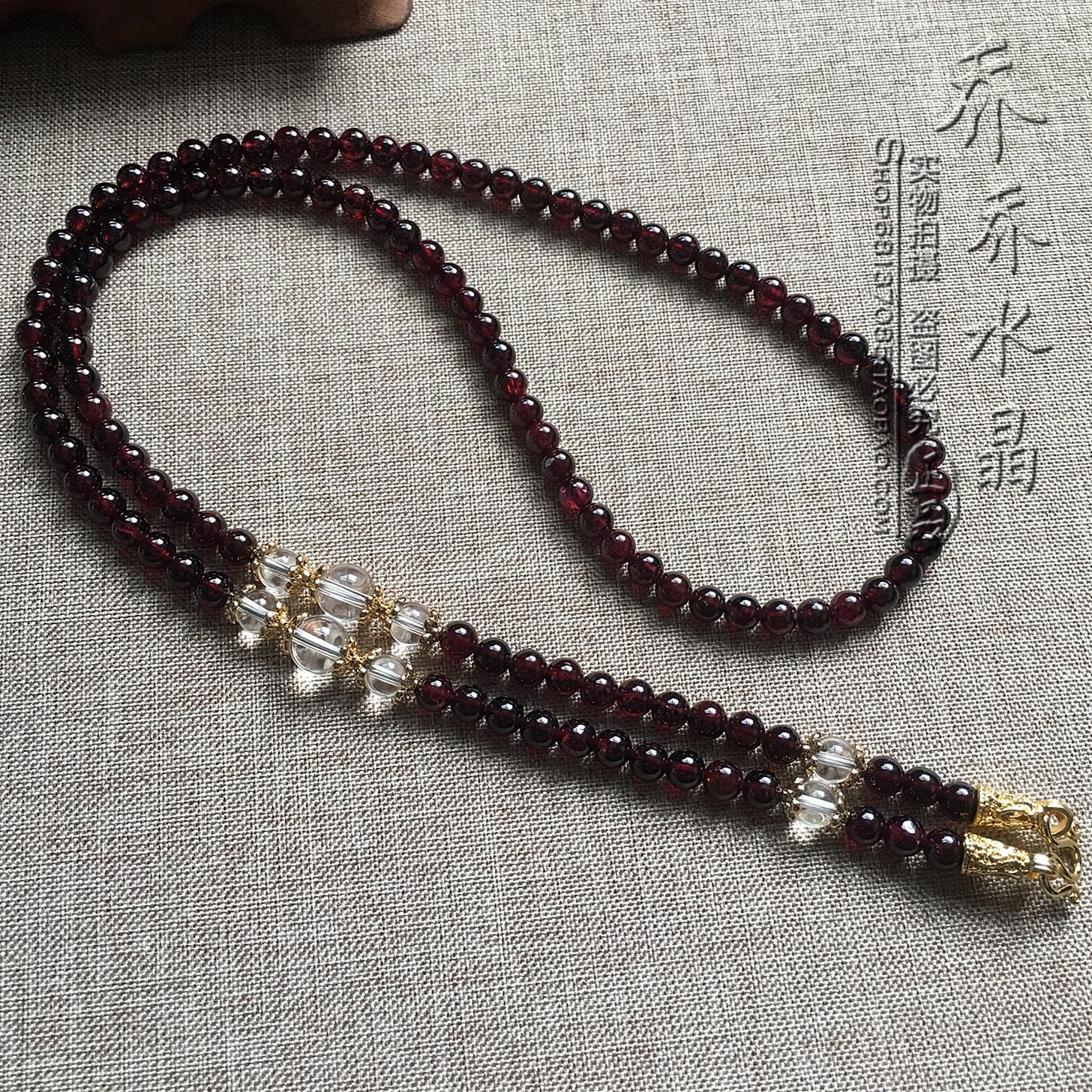 4毫米天然石榴石水晶项链金色泰国佛牌毛衣挂链可定制其他款