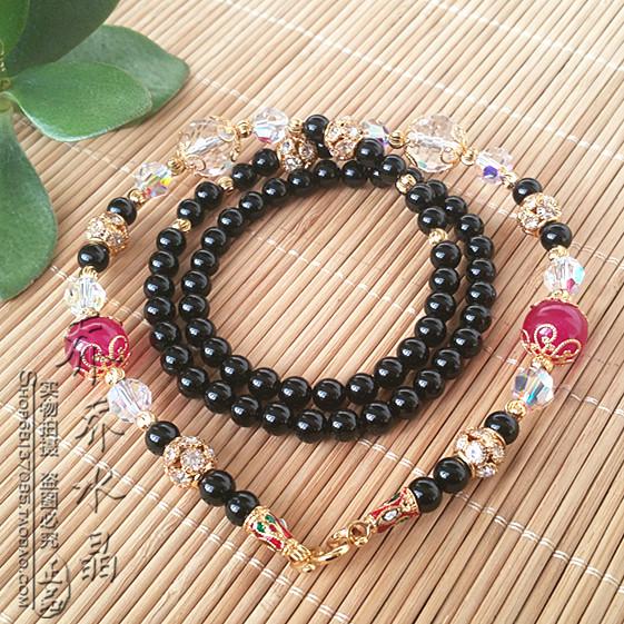 黑玛瑙水晶超闪毛衣项链金色泰国泰国挂链可订其他款式