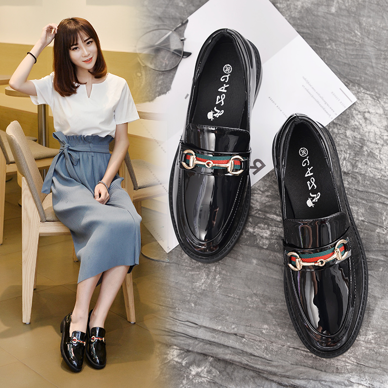 British style thick heel small shoes versatile student flat sole single shoes lefook spring round head womens shoes oxford shoe trend