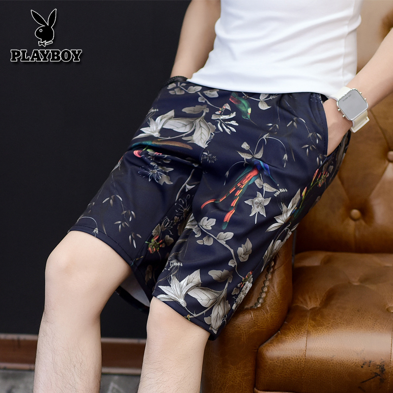 Playboy men's beach trousers in summer loose large size quick-drying trousers Korean version leisure seaside lace shorts and pants