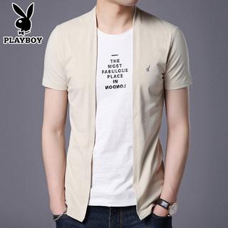 Playboy лето мужской короткий рукав t футболки тенденция мужской круглый вырез с коротким рукавом корейский отпуск куртка одежда кардиган, цена 1583 руб