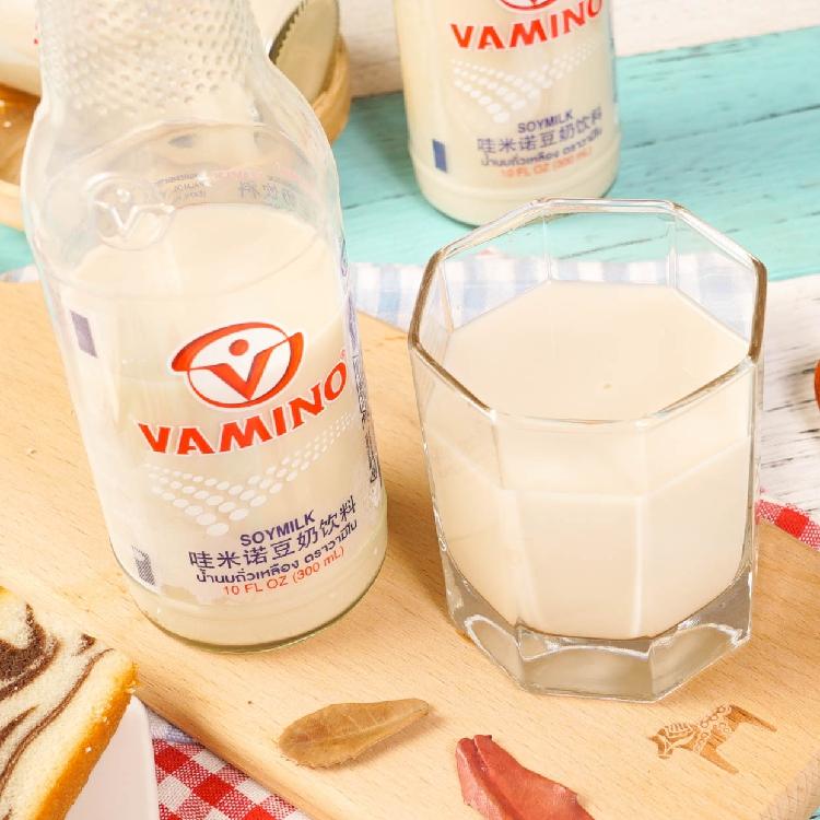 泰国进口 vamino哇米诺 原味豆奶饮品饮料营养早餐奶300ml 玻璃瓶