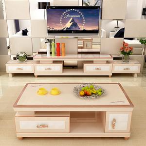 电视柜现代简约可伸缩客厅烤漆 电视柜茶几组合套装钢化玻璃组装