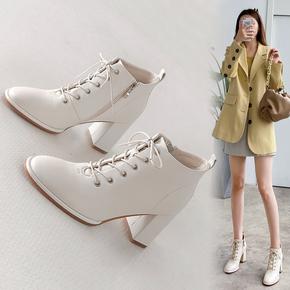 2020秋冬季新款复古真皮粗跟短靴系带马丁靴高跟鞋女鞋子裸靴皮靴