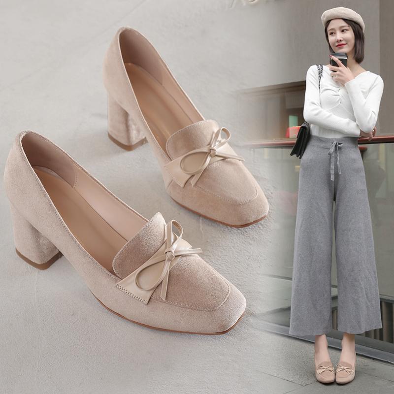 2020春季新款韩版真皮粗跟深口单鞋蝴蝶结高跟鞋复古甜美女鞋子