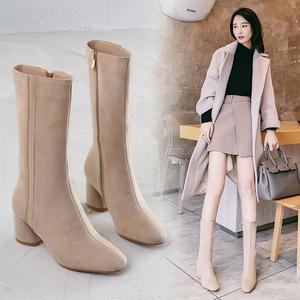 2020秋季新款复古粗跟骑士靴高跟中筒靴磨砂女靴子中靴瘦弹力靴