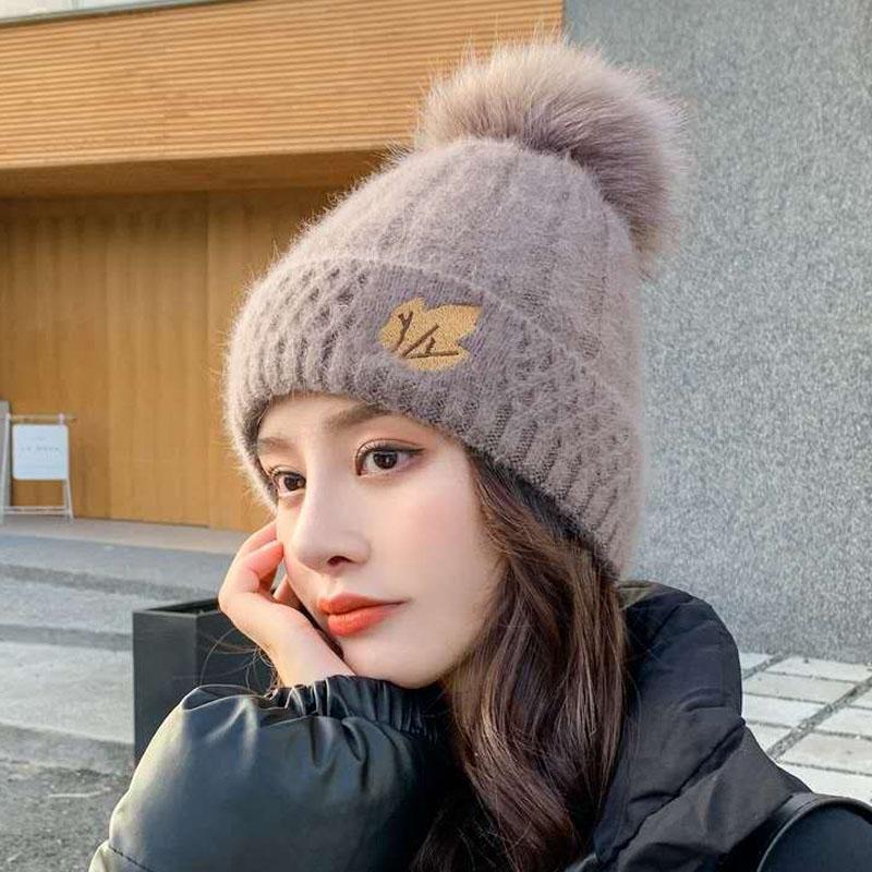 2020新款女士秋冬百搭韩版时尚加厚兔毛线帽加绒保暖针织套头帽子