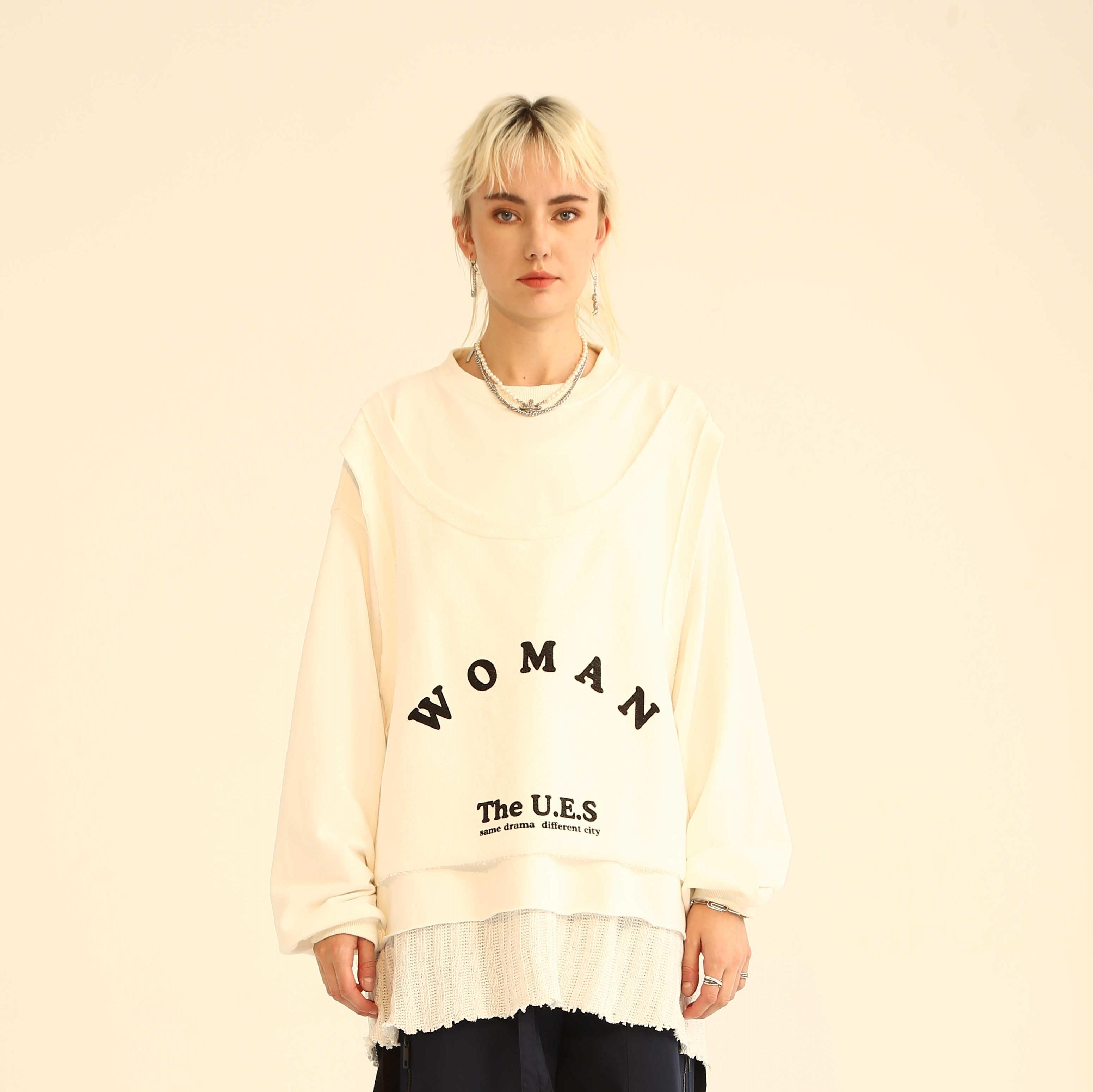 Upper East Siders嘻哈高街假两件背心T恤 原创WOMEN字母印花卫衣
