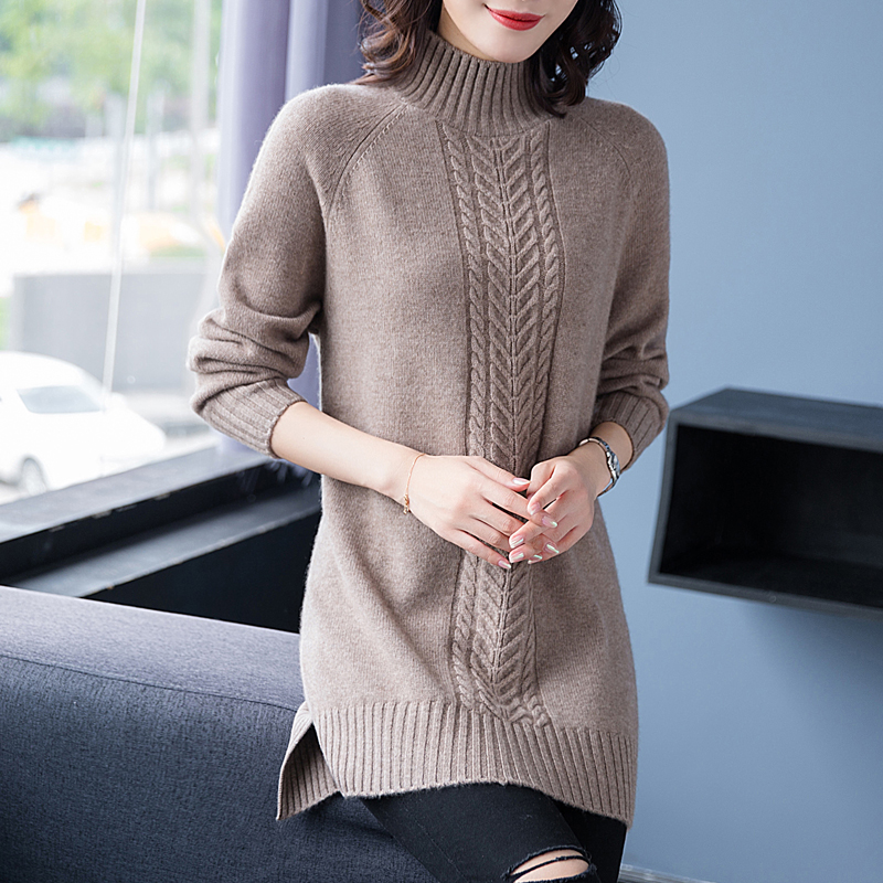 Flying lady 2020 new cashmere half high collar medium length sweater womens thickened bottomed sweater 83126