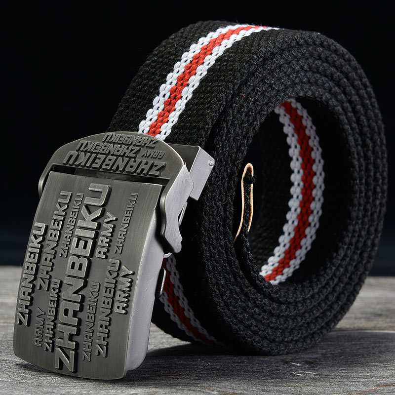 Mens canvas belt automatic smooth buckle belt mens trendsetter youth students extended customized belt durable and versatile
