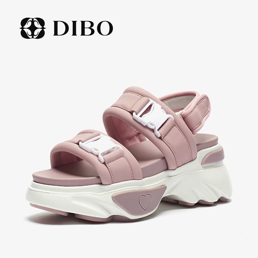 碲铂DIBO2019新款韩版休闲凉鞋搭扣魔术贴舒适松糕跟百搭厚底凉鞋