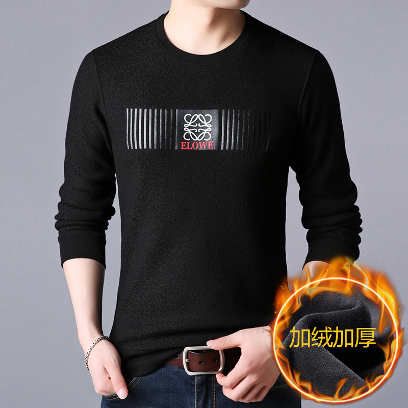 Winter men plus velvet thick warm cotton long-sleeved t-shirt youth trend crew neck sweater men's clothing factory direc