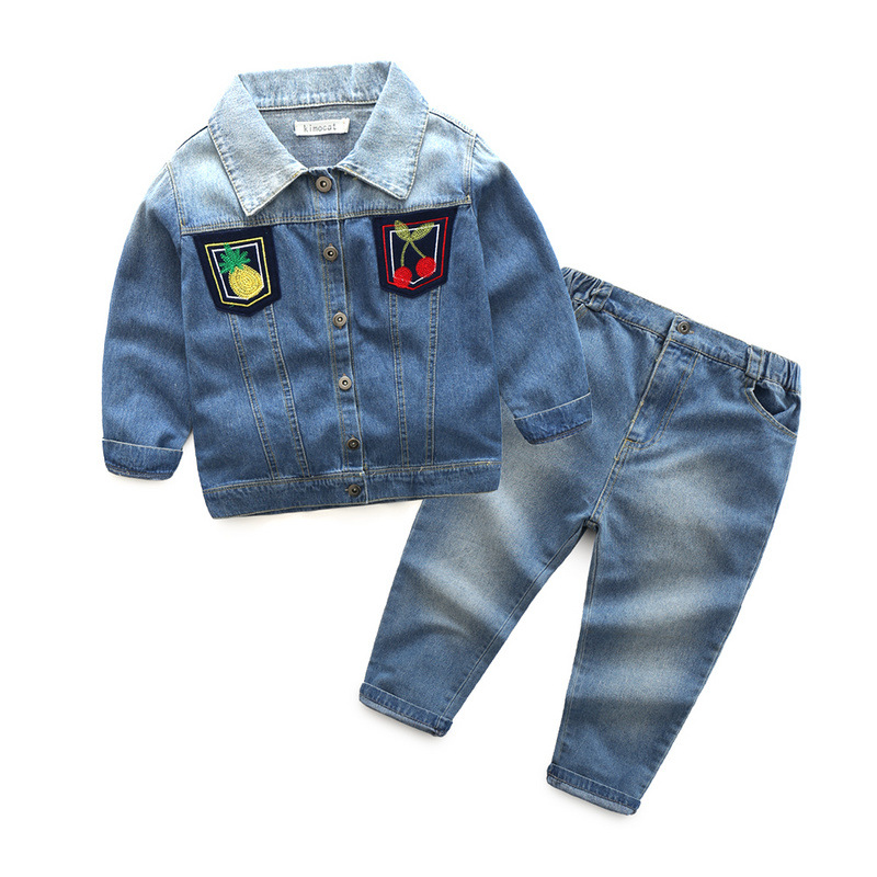 A paragraph undertakes foreign trade children's clothing boy girl fall long-sleeved pants fruit figure cowboy tong two s