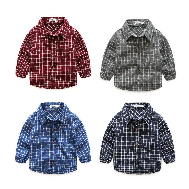 Foreign trade children's clothes Qiu dong outfit han edition boys plaid shirt long sleeve lapel children render a new sh
