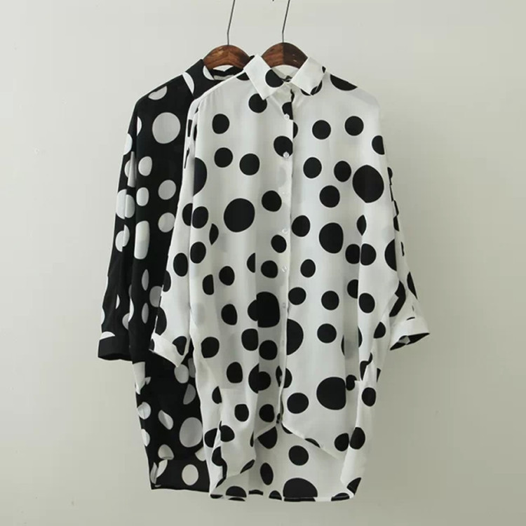 Summer 2016 han edition wave batwing coat loose long-sleeved chiffon shirt shirt printing is prevented bask in unlined u