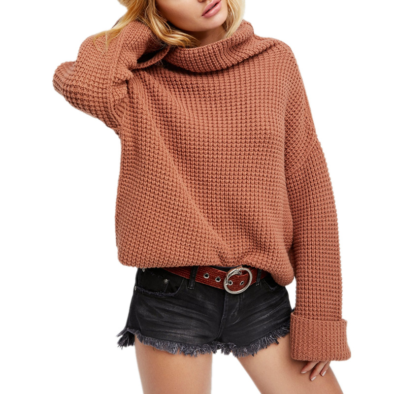AliExpress Amazon autumn and winter of the new FP fisherman loose knit high collar solid color pullover women