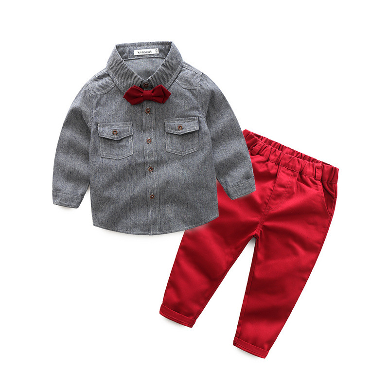 Spring new children's suit Korean small boys vertical striped long-sleeved shirt gentleman two-piece suit