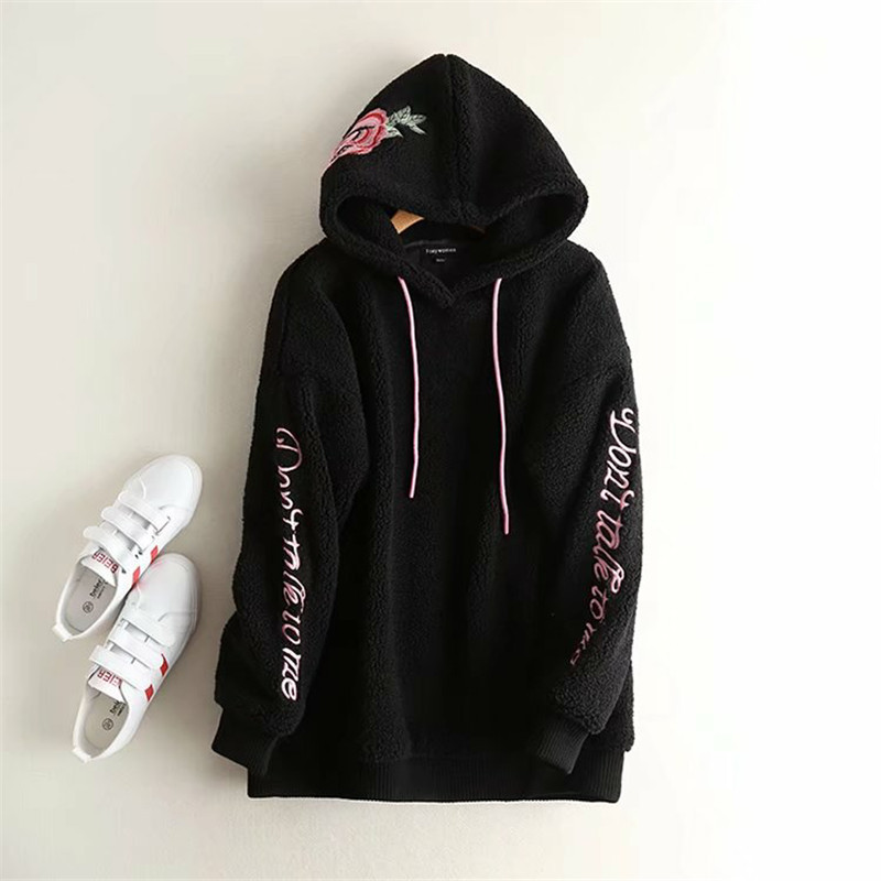 Diablo Street beat assassin wind hooded flower embroidery lamb hair loose hedging sweater women's autumn and winter wome