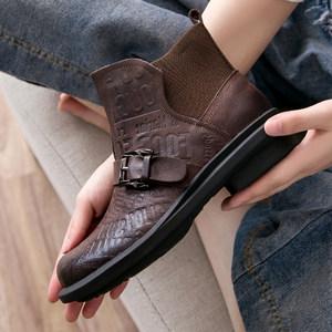复古工装鞋马丁靴平底百搭帅气牛皮短靴春秋单靴中跟真皮高帮鞋女