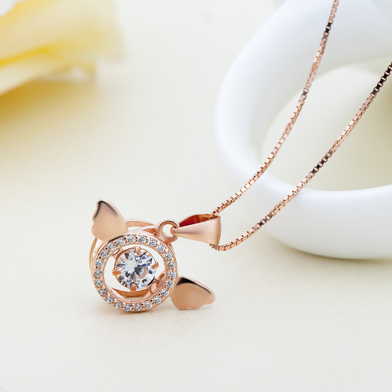 New S925 Pure Silver Angel Wing beating heart and clavicle necklace, female heart pendant, Mori student rose gold