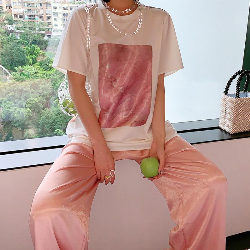 KICOSTYLE 2019夏新款潮印花图案中长款宽松白色短袖T恤女装上衣