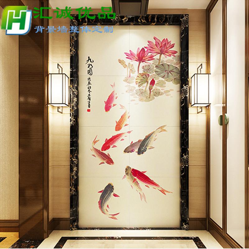 (用1元券)3d立体玄关背景墙瓷砖走廊过道楼梯口微晶石中式壁画 吉祥九鱼图