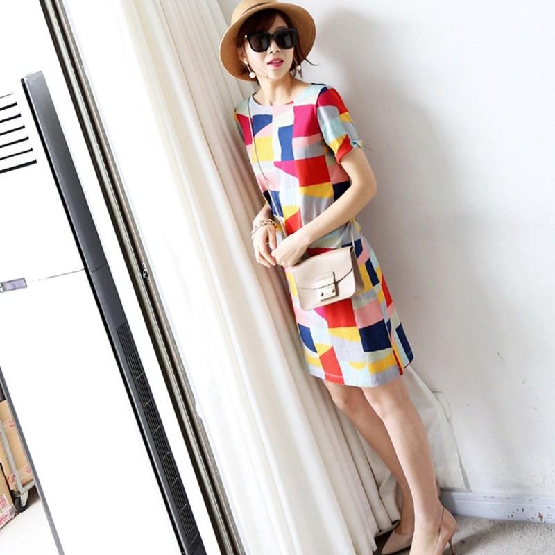 2019夏季新款圆领短袖连衣裙女时尚宽松几何拼色T恤裙子大码女装