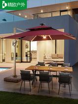 戶外遮陽傘庭院傘別墅室外花園羅馬傘帶燈光大型擺攤傘大號太陽傘