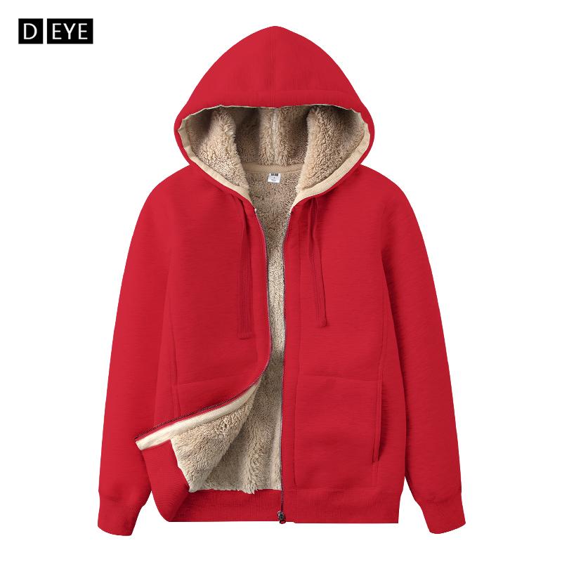 加绒卫衣女2018冬季新款仿羊羔绒连帽拉链开衫加厚宽松保暖外套