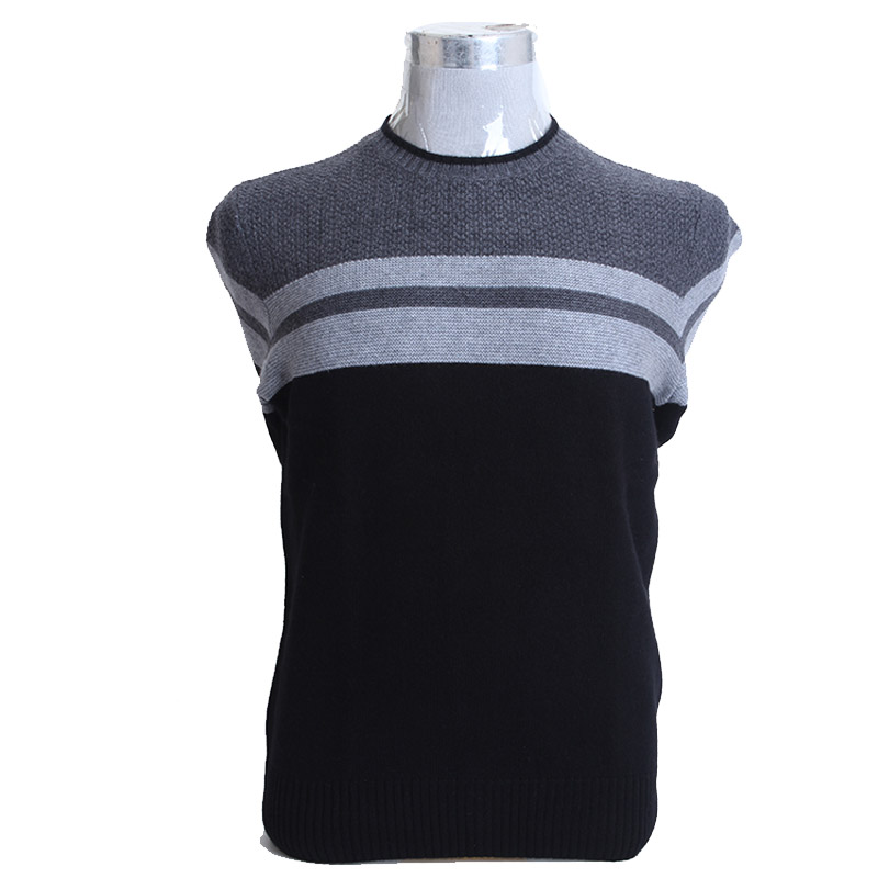 Erniman round neck Pullover color contrast new mens cashmere sweater autumn and winter loose casual bottom knitted sweater