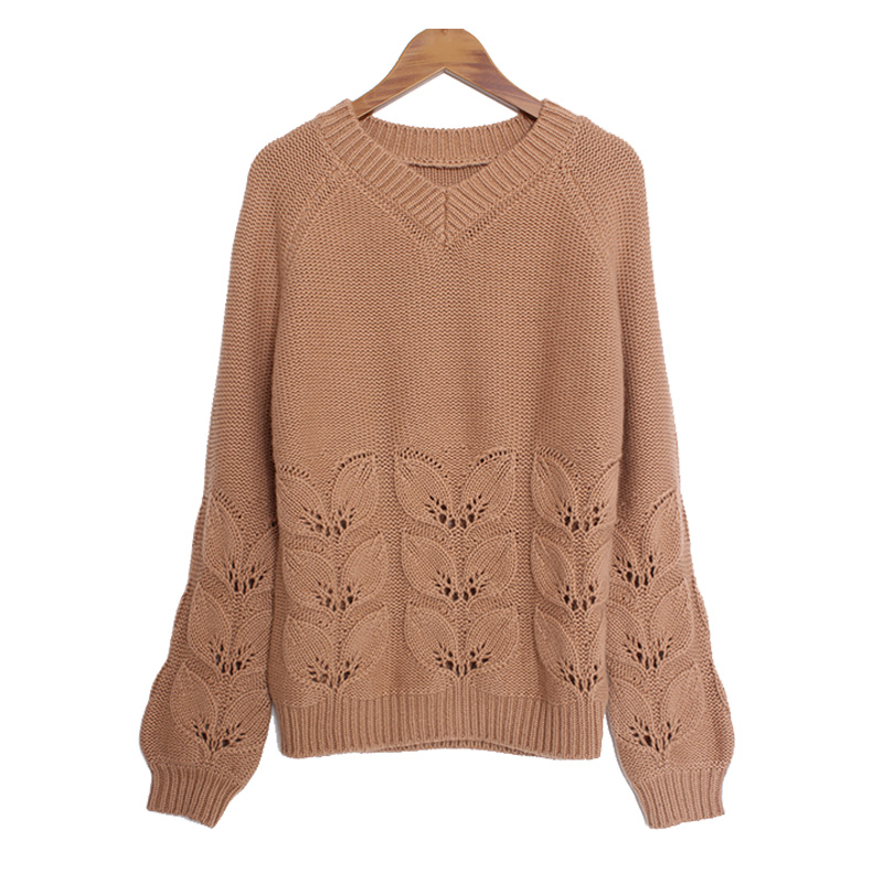 Ernimans new fall / winter 2019 cashmere sweater womens crew neck loose hollowed out pattern fashion knitwear sweater