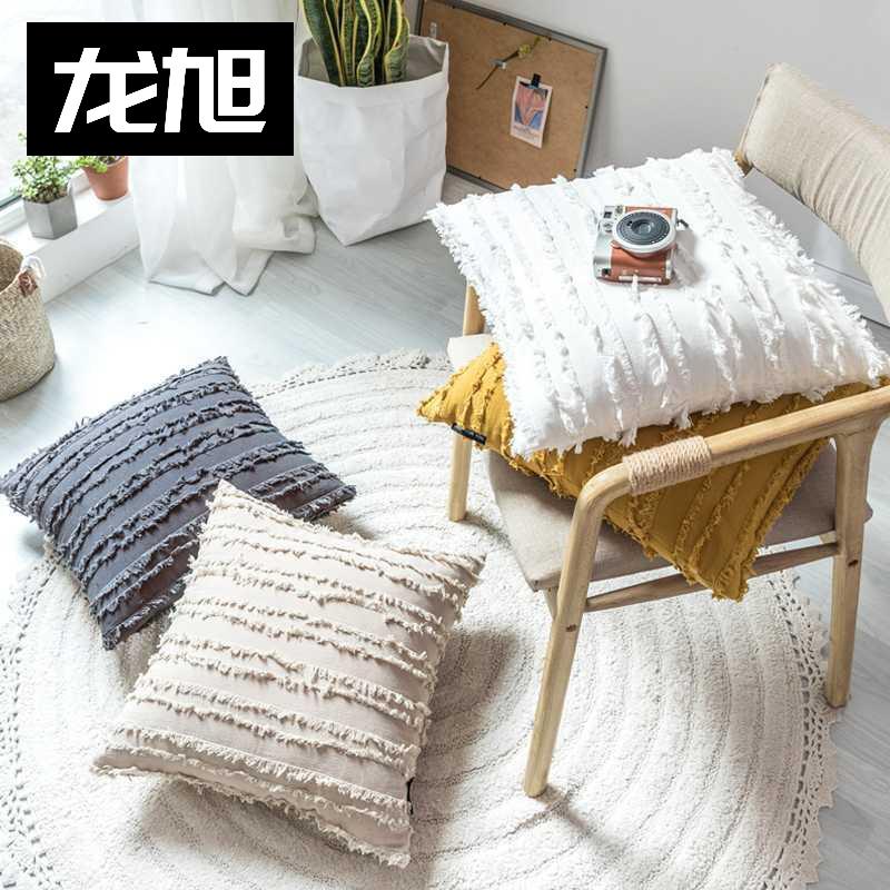 北欧INS风贝丽尔棉麻提花抱枕车用沙发床头靠垫方枕套飘窗装饰枕
