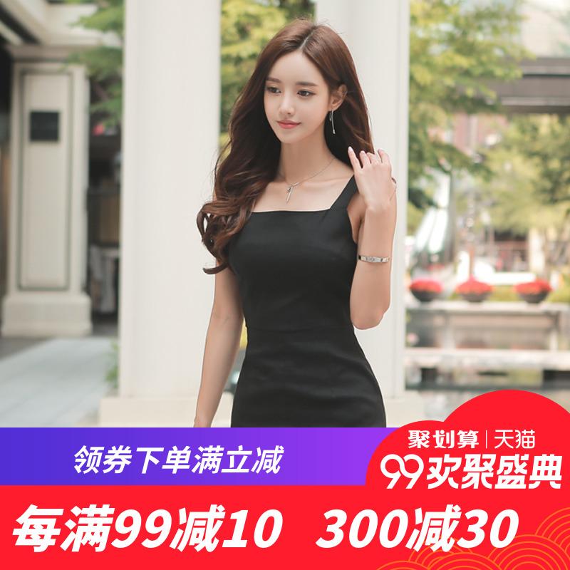 背带裙子2018夏季韩国女装显瘦极简主义港味气质冷淡风吊带连衣裙